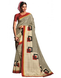 Casual Wear Grey & Red Art Silk Saree  - RKVIKI9343