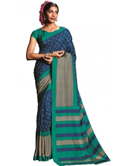 Casual Wear Blue & Green Art Silk Saree  - RKVIKI9355