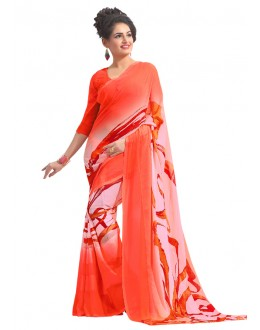 Festival Wear Orange Chiffon Saree  - RKAM6554