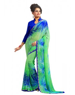 Festival Wear Green Georgette Saree  - RKAM656