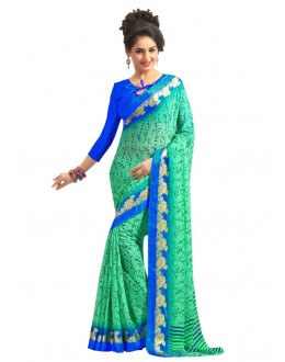 Festival Wear Green Chiffon Saree  - RKAM6561