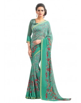 Ethnic Wear Green Georgette Saree  - RKAM6563