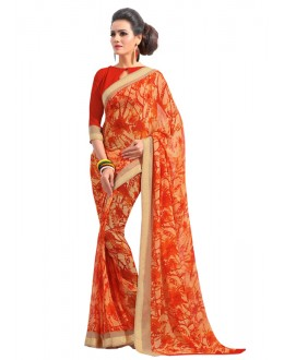 Orange Colour Georgette Printed Saree  - RKAM6564