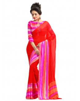 Red Colour Georgette Saree  - RKAM6566