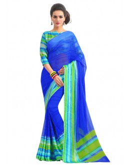 Georgette Blue Colour Saree  - RKAM6567