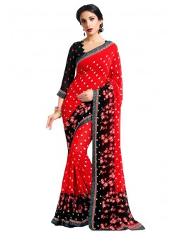 Ethnic Wear Red Georgette Saree  - RKAM6606