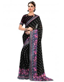 Ethnic Wear Black Georgette Saree  - RKAM6607