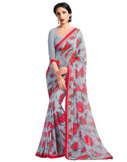 Festival Wear Grey Georgette Saree  - RKAM6608