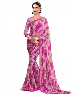 Casual Wear Pink Georgette Saree  - RKAM6609