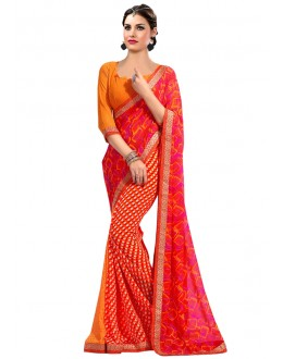 Georgette Orange Colour Printed Saree  - RKAM6611