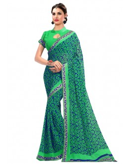 Casual Wear Green Georgette Saree  - RKAM6613