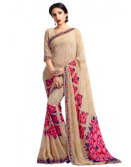 Party Wear Beige Georgette Saree  - RKAM6614