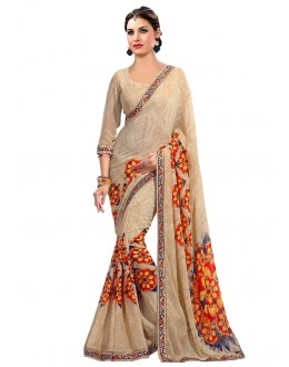 Festival Wear Beige Georgette Saree  - RKAM6615