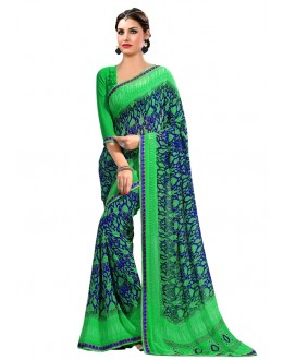 Multi-Colour Georgette Printed Saree  - RKAM6621