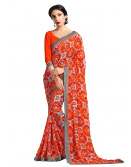 Multi-Colour Georgette Printed Saree  - RKAM6622