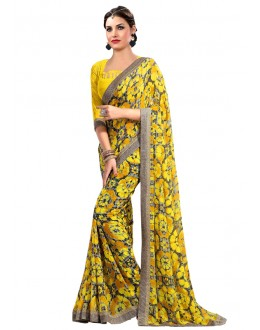 Ethnic Wear Yellow Georgette Saree  - RKAM6623