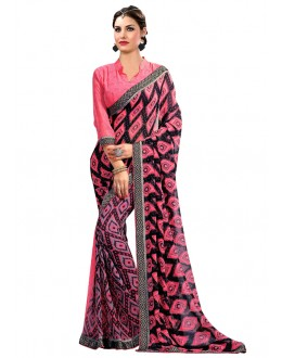 Multi-Colour Georgette Printed Saree  - RKAM6627