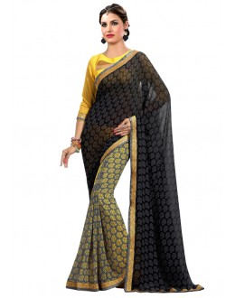 Multi-Colour Georgette Printed Saree  - RKAM6628