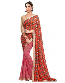 Multi-Colour Georgette Printed Saree  - RKAM6631