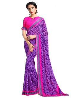 Multi-Colour Georgette Printed Saree  - RKAM6640