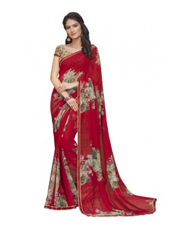 Casual Wear Red Georgette Saree  - RKLP4530
