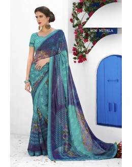 Festival Wear Blue Georgette Saree  - RKLP4630