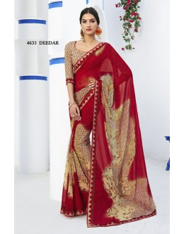 Multi-Colour Georgette Printed Saree  - RKLP4633