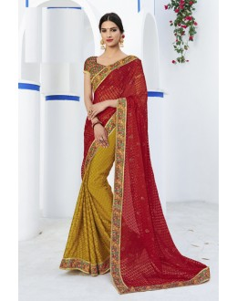 Red & Yellow Georgette Half & Half Saree  - RKLP4635