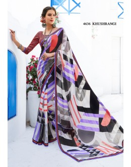 Casual Wear Multi-Colour Brasso Saree  - RKLP4636