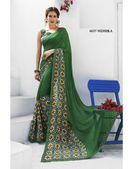 Ethnic Wear Green Brasso Saree  - RKLP4637