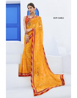 Party Wear Yellow Chiffon Saree  - RKLP4639