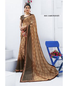 Ethnic Wear Brown Georgette Saree  - RKLP4641