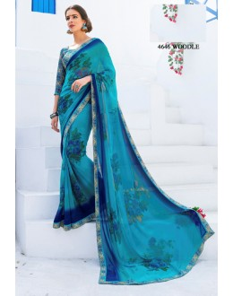 Casual Wear Blue Georgette Saree  - RKLP4646
