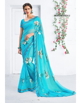 Ethnic Wear Blue Georgette Saree  - RKLP4649