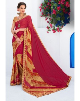 Ethnic Wear Red Georgette Saree  - RKLP4650