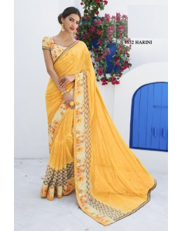 Ethnic Wear Yellow Chiffon Saree  - RKLP4652