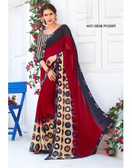 Casual Wear Red Chiffon Saree  - RKLP4653