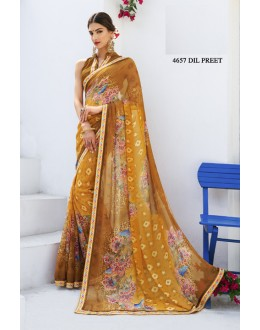 Ethnic Wear Yellow Chiffon Saree  - RKLP4657