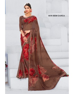 Brown Colour Georgette Printed Saree  - RKLP4658