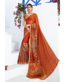 Georgette Orange Printed Saree  - RKLP4660