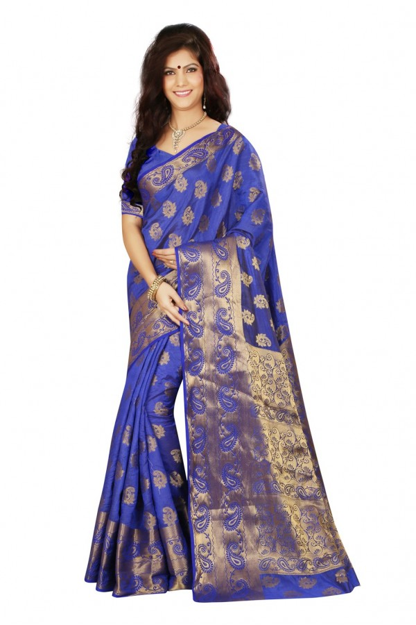 Ethnic Wear Blue Tussar Saree  - RKMF1422