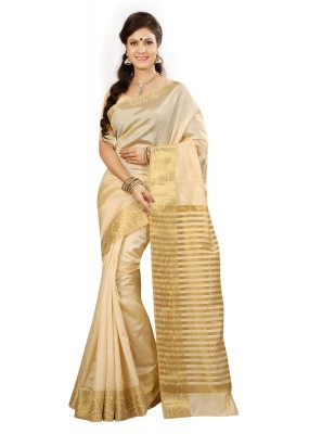 Casual Wear Beige Tussar Saree  - RKMF1436
