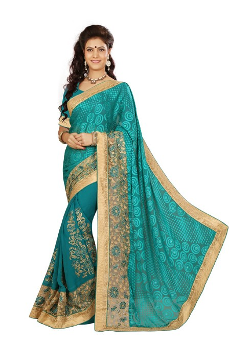 Party Wear Green Georgette Saree  - RKMF1445