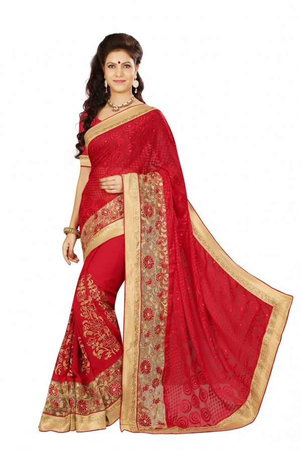 Ethnic Wear Red Georgette Saree  - RKMF1446