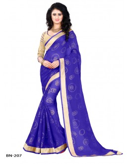 Ethnic Wear Blue Jute Silk Saree  - BN-207