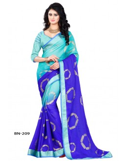 Casual Wear Blue Jute Silk Saree  - BN-209