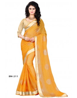 Ethnic Wear Yellow Jute Silk Saree  - BN-211