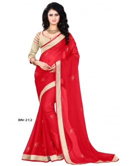 Ethnic Wear Red Jute Silk Saree  - BN-212
