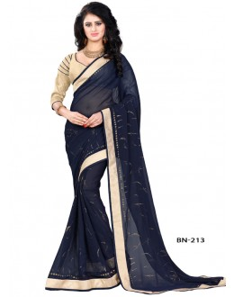 Ethnic Wear Navy Blue Jute Silk Saree  - BN-213