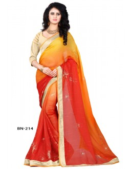 Party Wear Yellow & Orange Jute Silk Saree  - BN-214